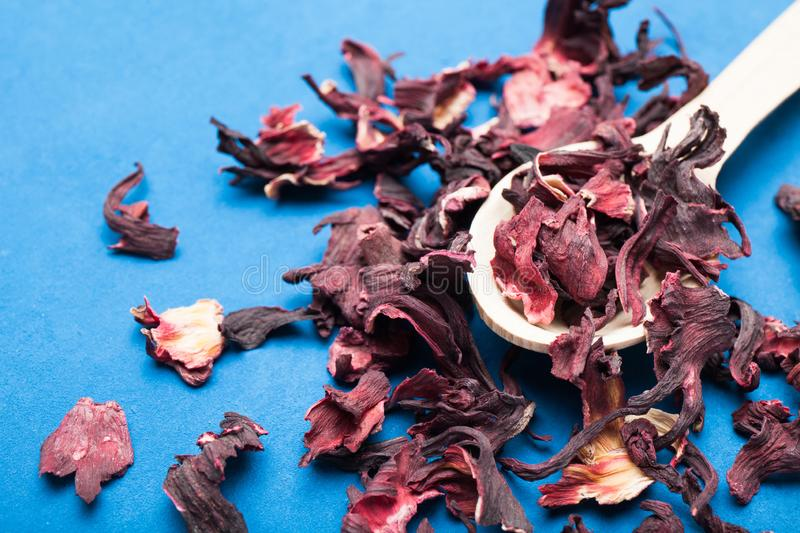 Hibiscus petals in a wooden spoon on a blue background.  royalty free stock photos