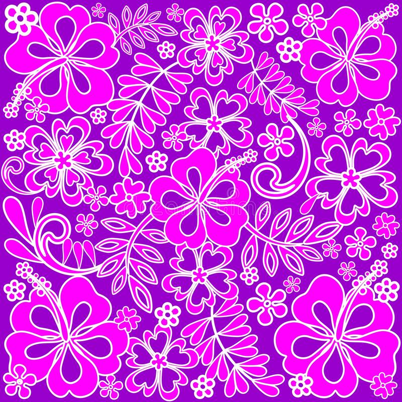 Hibiscus Pink and Purple Pattern royalty free illustration