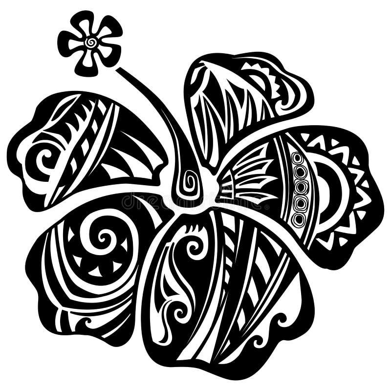 Hibiscus preto e branco ilustração stock