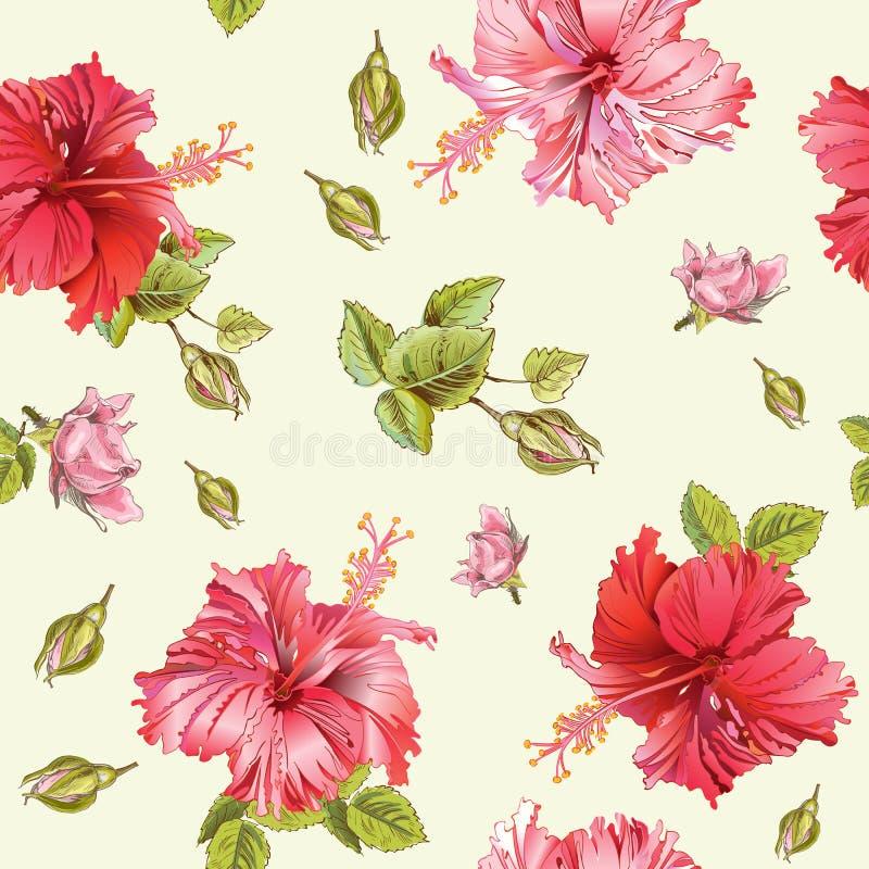 Hibiscus seamless pattern royalty free illustration