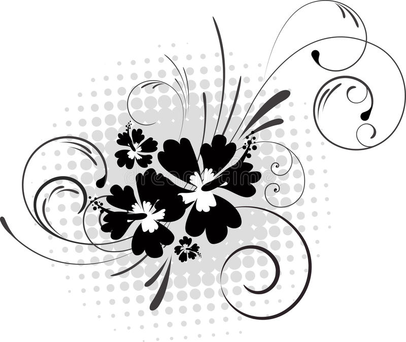 Hibiscus with swirls on halftone background royalty free illustration