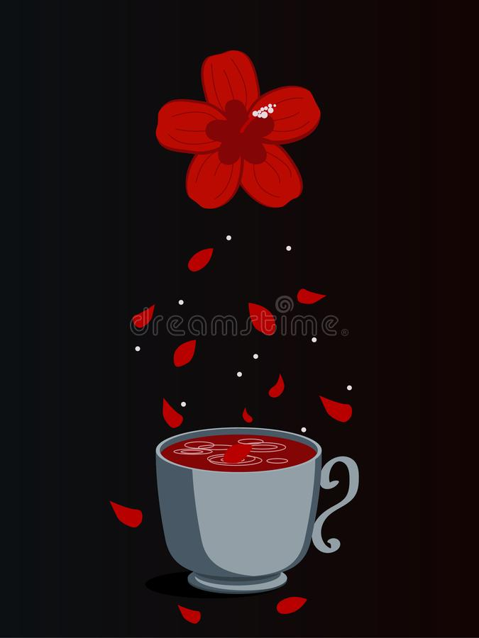 Hibiscus tea in glass cup with dried hibiscus calyces and red flower isolated on white background. Vector illustration of drink in vector illustration