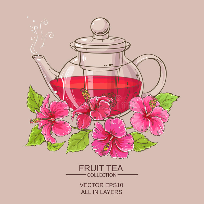 Hibiscus tea in teapot. On color background vector illustration