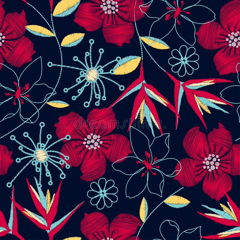 Hibiscus tropical woven embroidery seamless pattern vector illustration