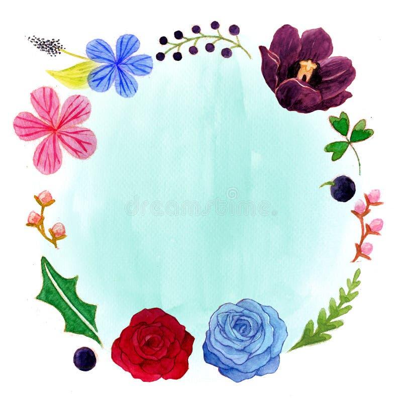 Hibiscus, Tulpe und Rose Romantic Watercolor Flower Frame vektor abbildung
