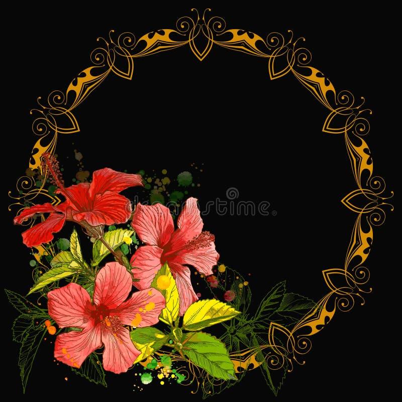 Hibiscus & vintage frame vector illustration