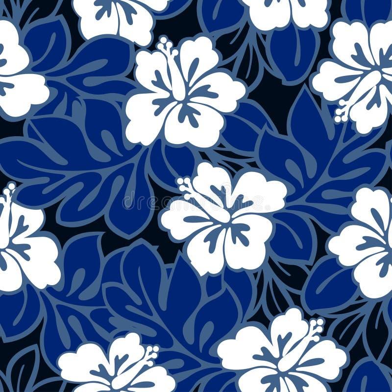 Hibiscusbloemen en tropische bladeren in een naadloos patroon stock illustratie