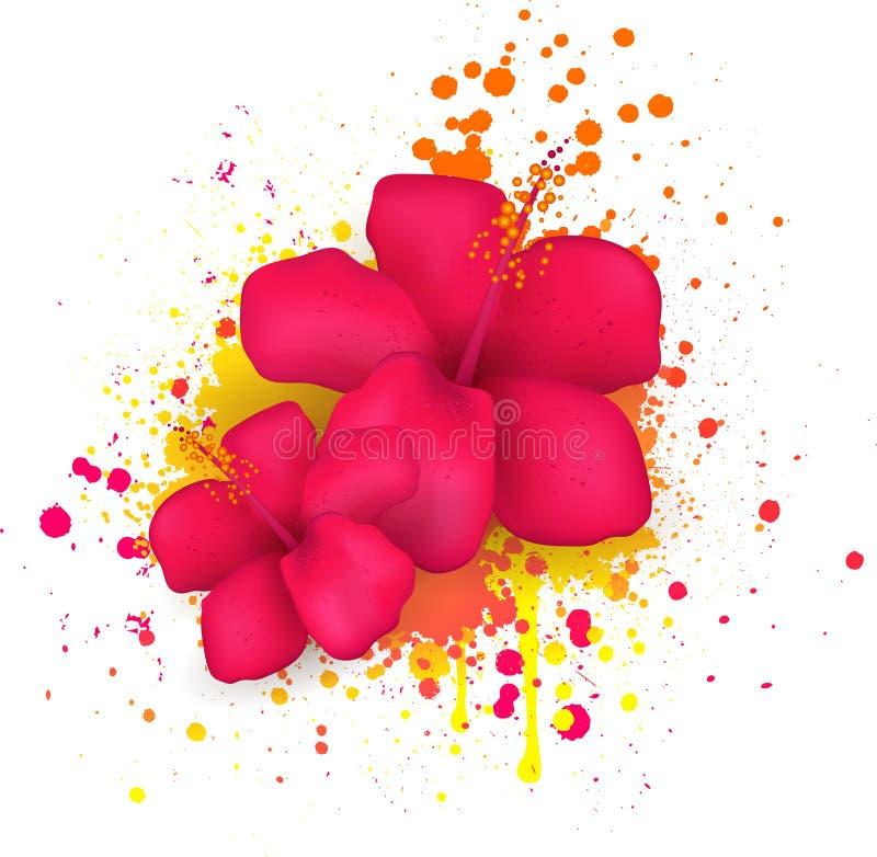 Hibiscusblumen auf Schmutzhintergrund stock abbildung