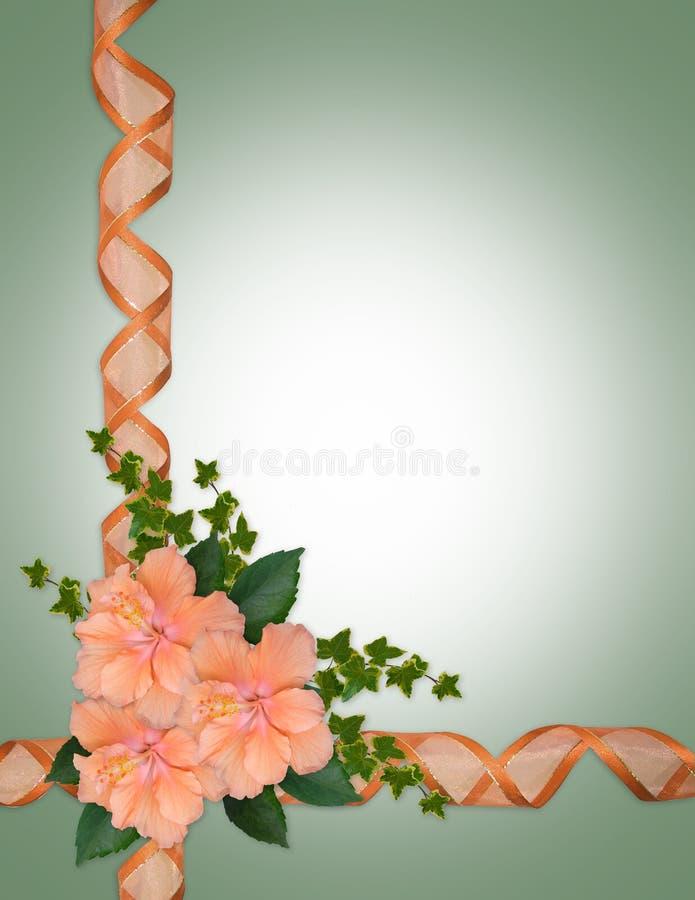 Hibiscuspfirsich-Blumenrand vektor abbildung