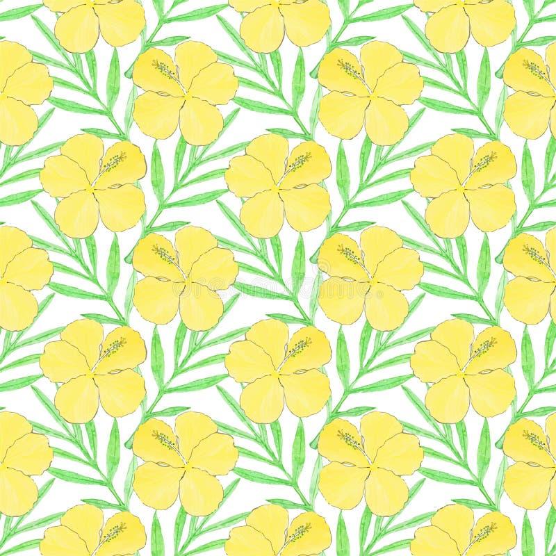 hibiskus Sömlös modell med blommor och palmblad bakgrund tecknad hand också vektor för coreldrawillustration vektor illustrationer