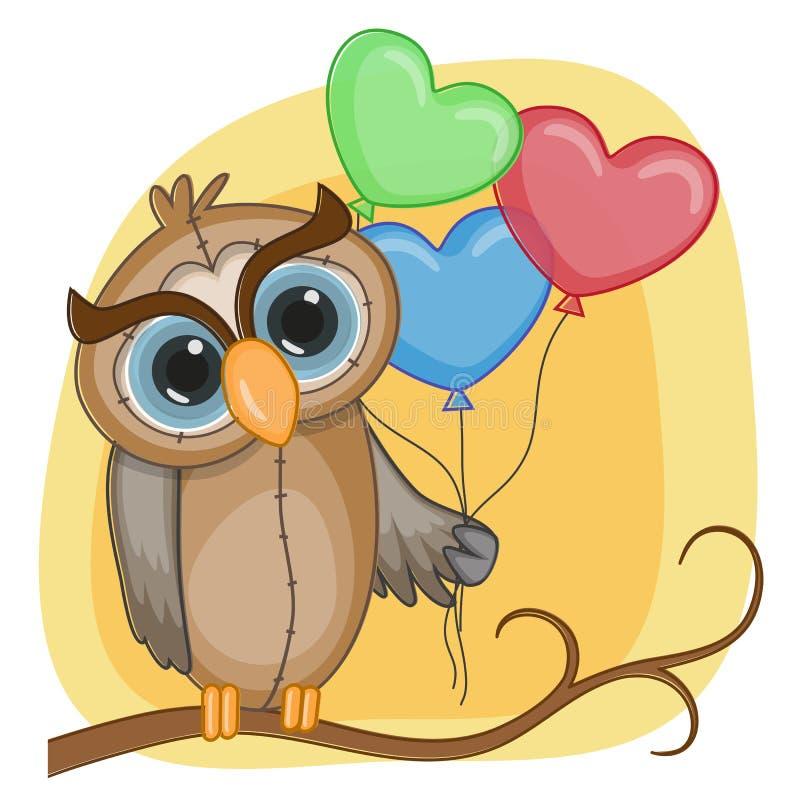 Hibou avec des baloons illustration stock