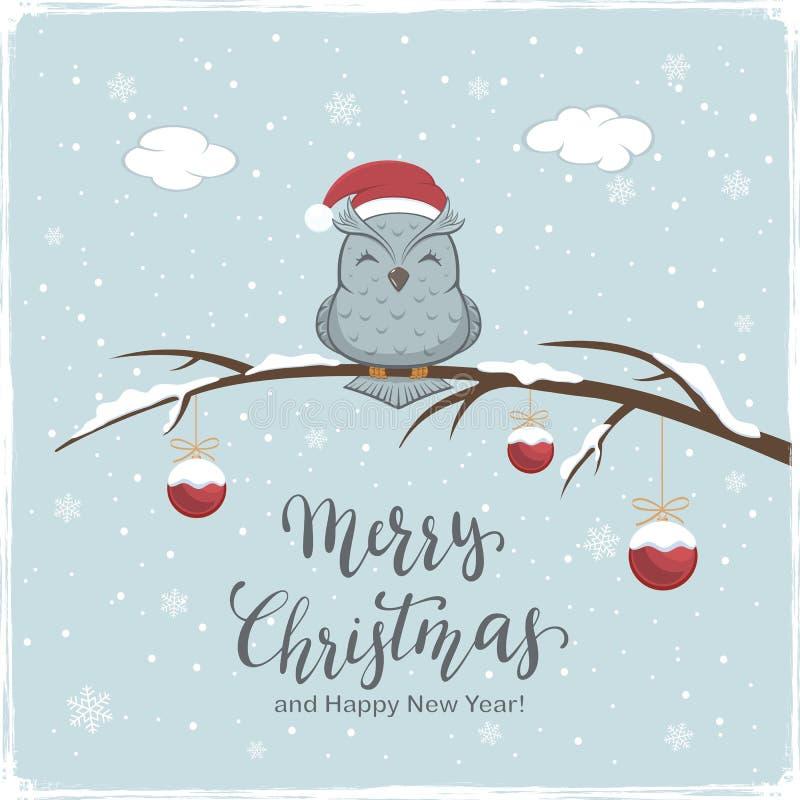 Hibou avec les boules rouges et marquer avec des lettres le Joyeux Noël l'hiver Backg illustration libre de droits
