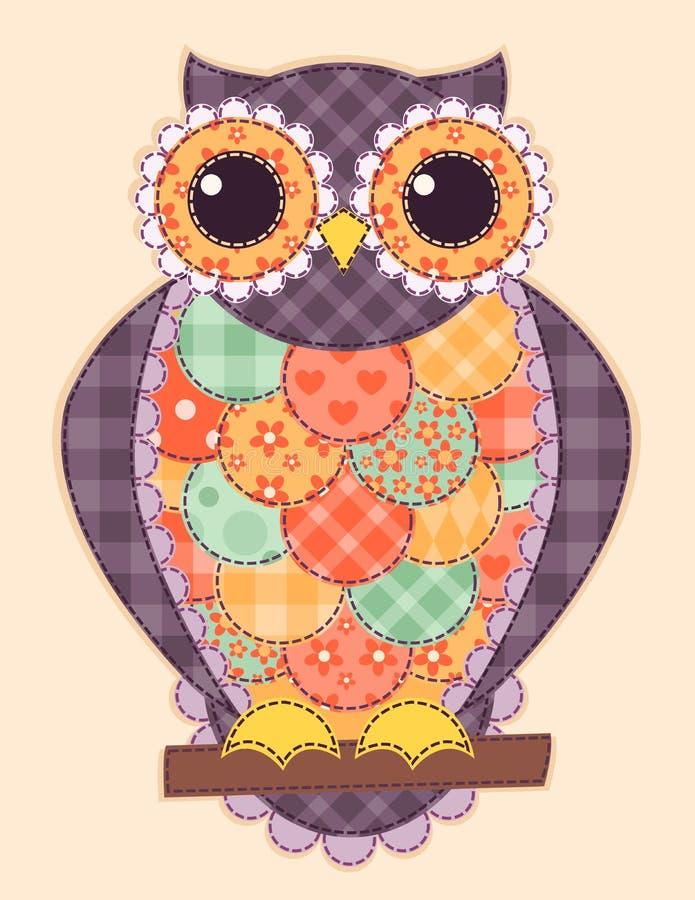 Hibou coloré de patchwork illustration de vecteur