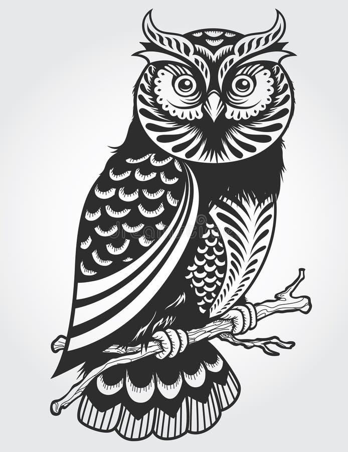 Hibou décoratif illustration stock
