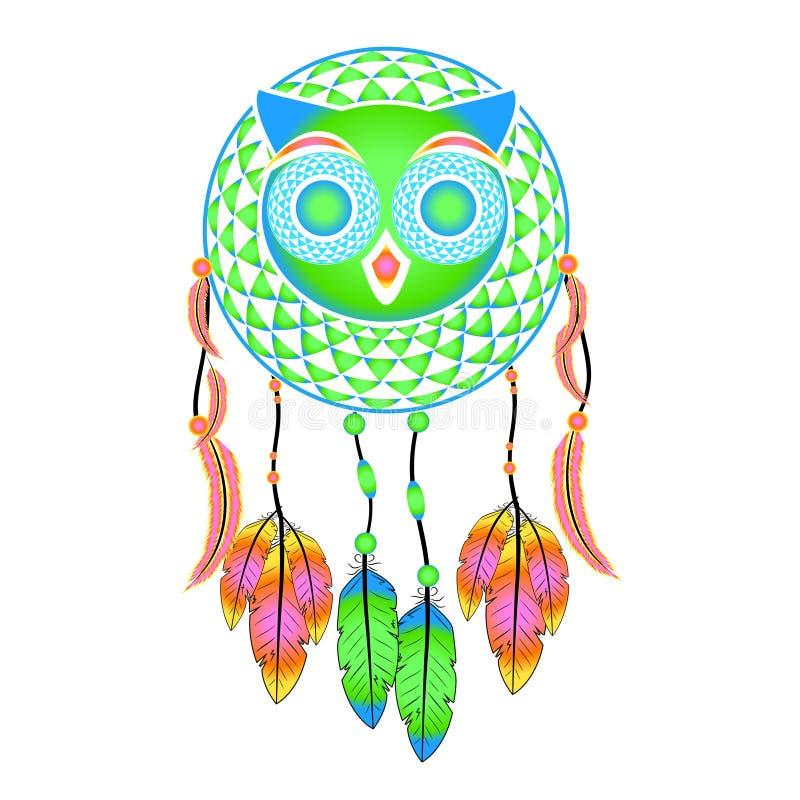 Hibou décoratif de receveur rêveur illustration stock