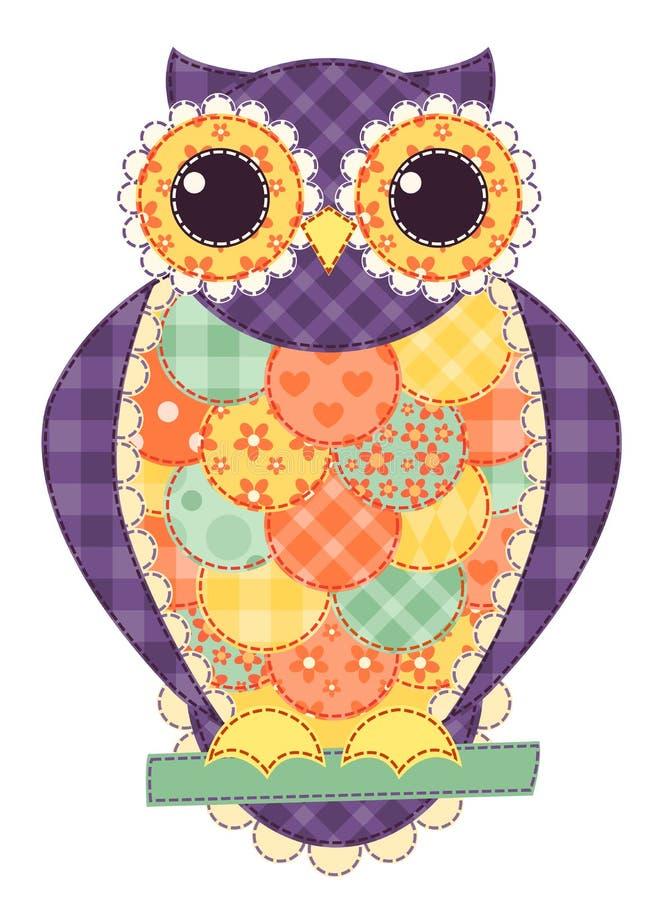 Hibou d'isolement coloré de patchwork illustration stock