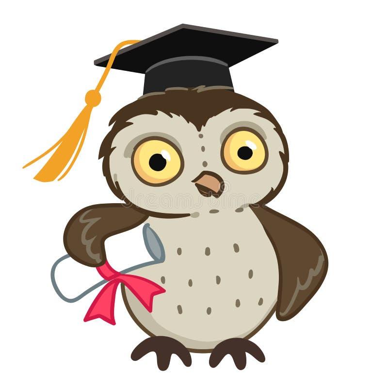 Hibou dans le chapeau d'obtention du diplôme illustration de vecteur
