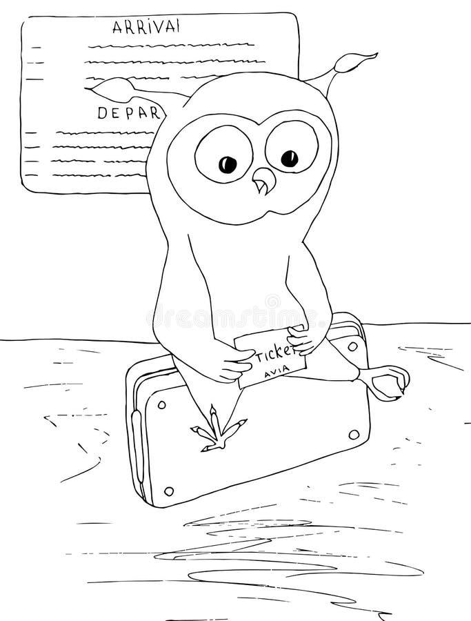 Hibou de bande dessinée avec le billet se reposant sur le sac Illustration courante tirée par la main monochrome de vecteur pour  illustration de vecteur