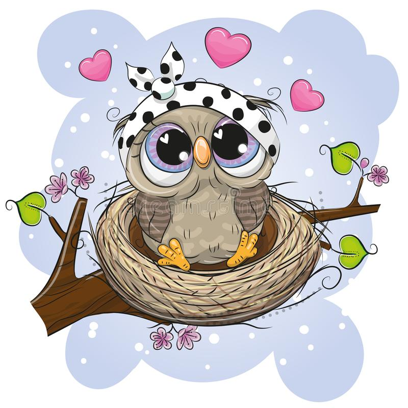 Hibou de bande dessinée dans un nid sur une branche illustration stock