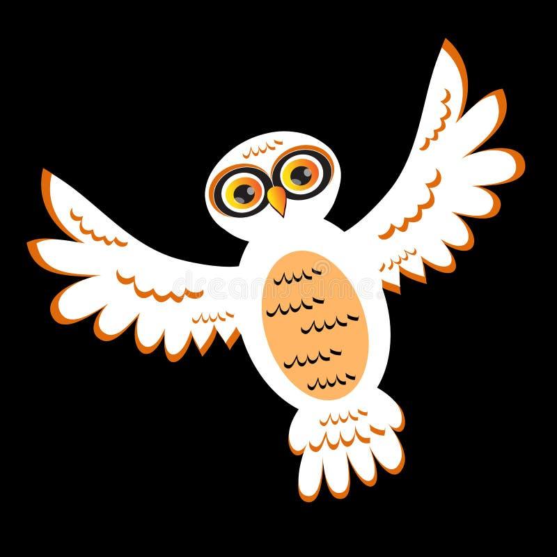 Hibou de blanc de dessin animé illustration de vecteur