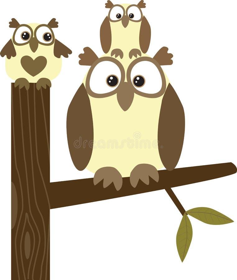 hibou de famille illustration libre de droits
