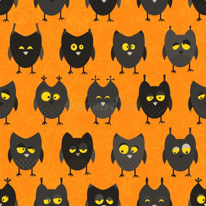 Hibou de Halloween sans couture. Fond de vecteur. illustration libre de droits