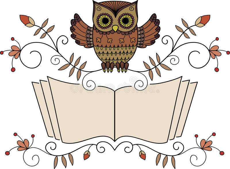 Hibou de lecture illustration libre de droits