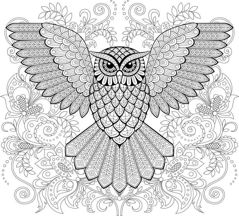 Hibou de vol et ornement floral dans le style de zentangle Page antistress adulte de coloration Griffonnage tiré par la main noir illustration stock