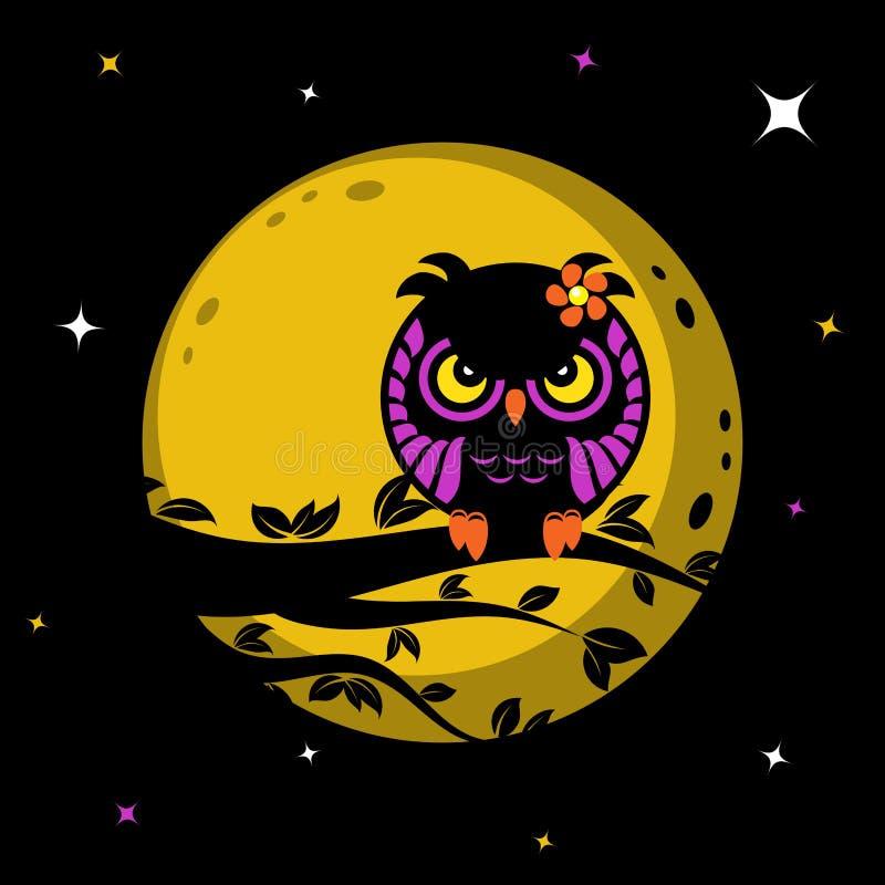 Download Hibou drôle devant la lune illustration de vecteur. Illustration du branchement - 77155432