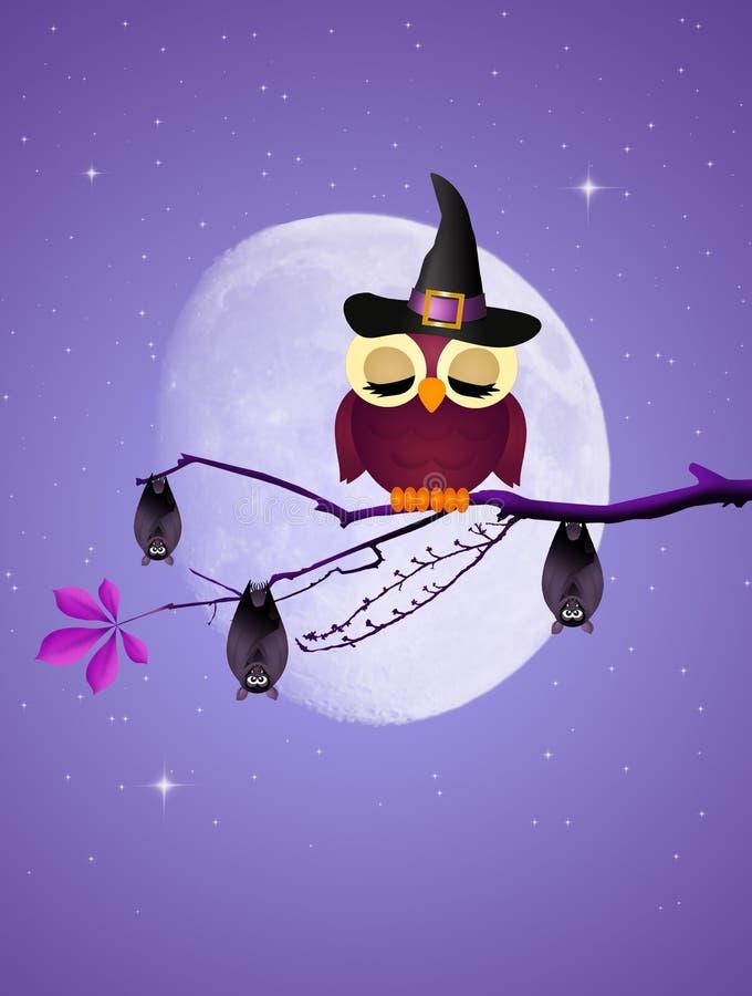 Hibou et battes de nuit de Halloween illustration stock
