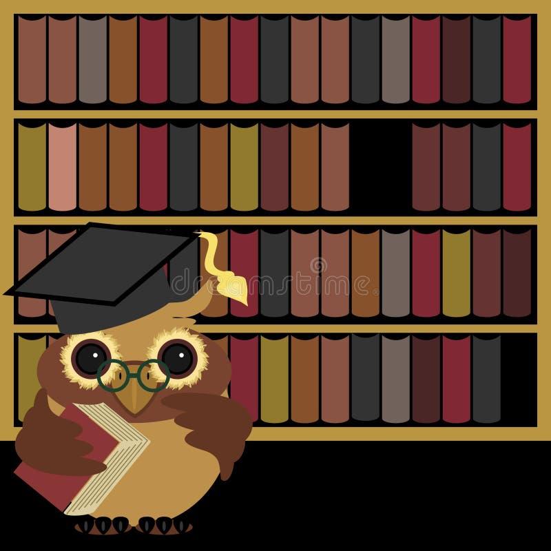 Hibou gentil avec des livres illustration de vecteur