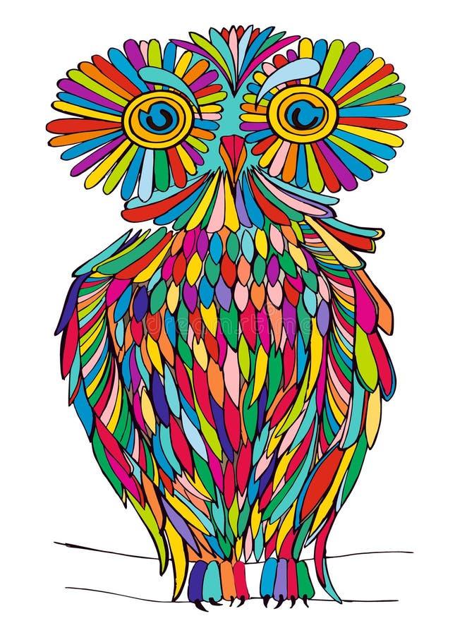 Hibou graphique d'illustration couleur variée illustration de vecteur