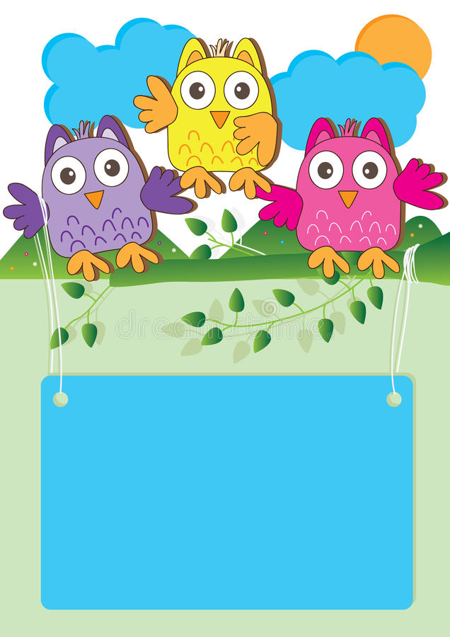 Hibou heureux Introduction_eps illustration stock