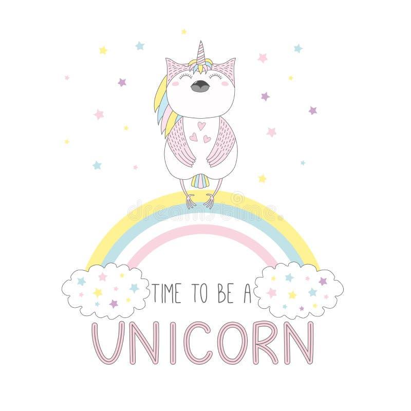 Hibou mignon de licorne sur l'arc-en-ciel illustration libre de droits