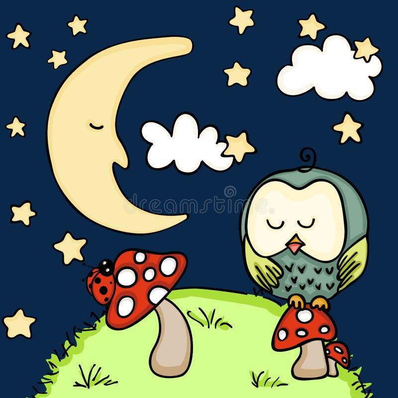 Hibou mignon sur le champignon au fond de nuit illustration libre de droits