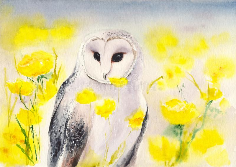 Hibou neigeux d'aquarelle illustration de vecteur