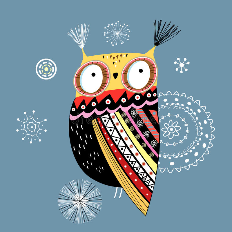 Hibou ornemental illustration de vecteur