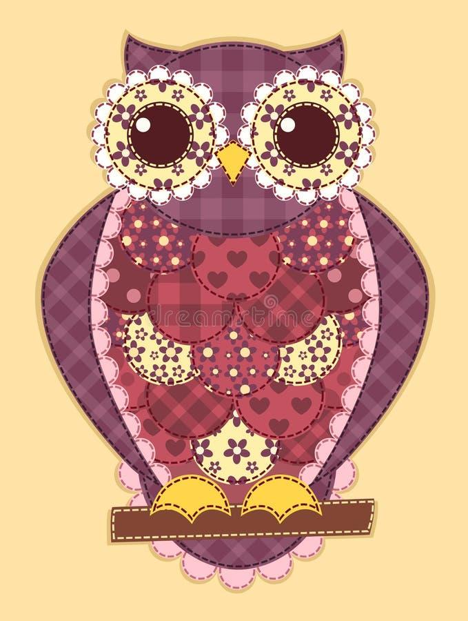Hibou pourpre de patchwork illustration libre de droits