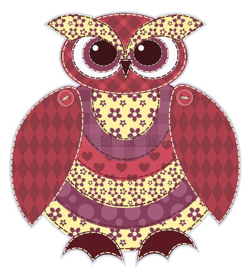 Hibou rouge d'isolement de patchwork illustration de vecteur