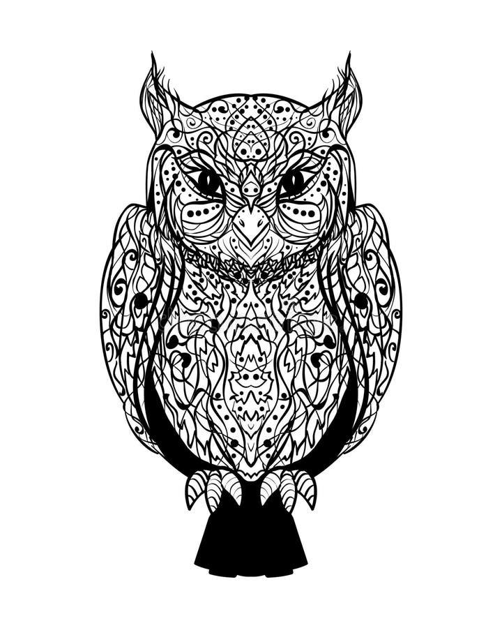 Hibou sage sauvage de vecteur de tatouage graphique mystique d'encre sur un Backg blanc illustration de vecteur