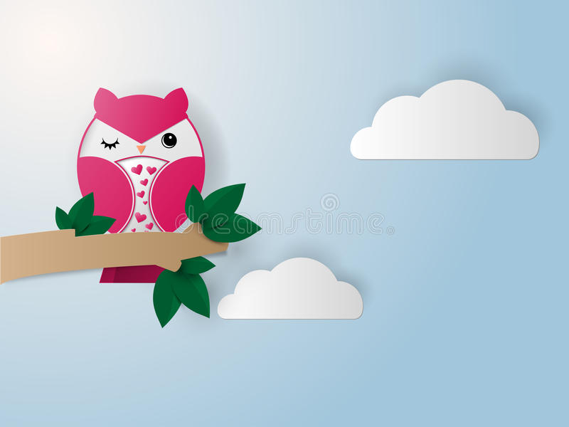 Hibou sur des branches d'arbre, style de papier d'art, vecteur illustration stock