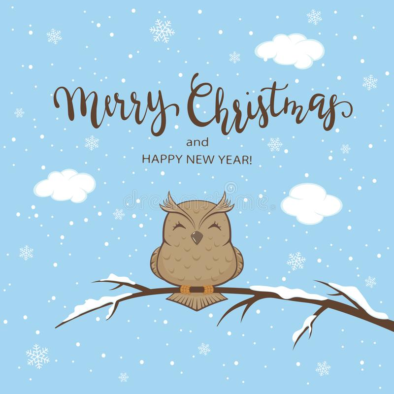 Hibou sur le fond d'hiver avec marquer avec des lettres le Joyeux Noël illustration de vecteur