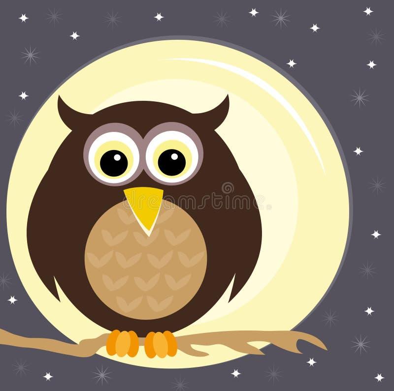 Hibou sur un branchement la nuit illustration stock