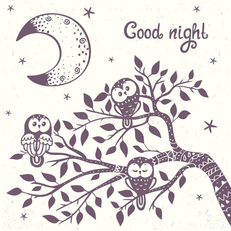 Hibou sur une branche illustration stock