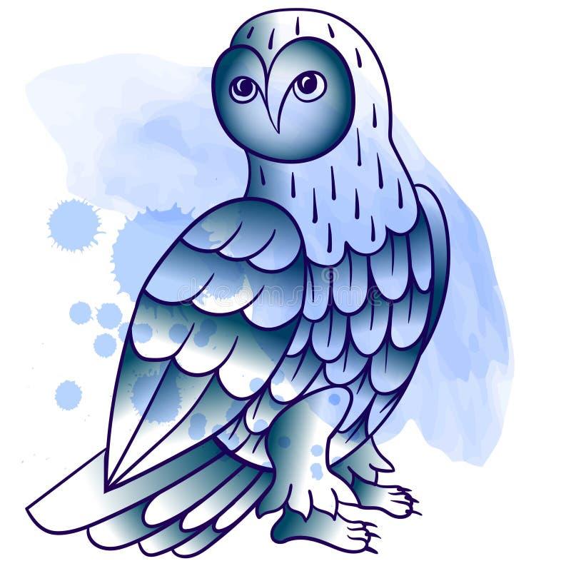 Hibou Tatouage, copie d'affiche Art tiré par la main de lne de tatouage d'aquarelle illustration stock