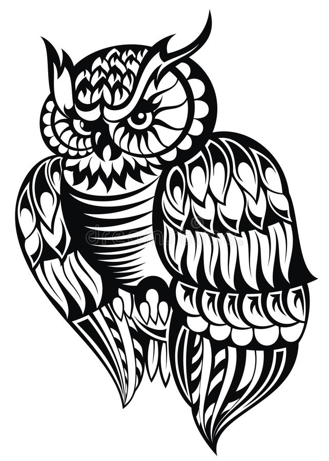 Hibou Tatouage Design illustration stock