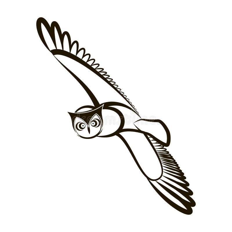 Hibou tiré par la main Ailes ouvertes Plumage blanc noir illustration libre de droits