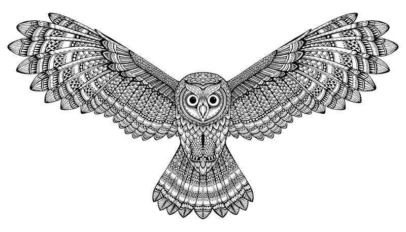 Hibou tiré par la main de vol de vecteur Art noir et blanc de zentangle illustration stock