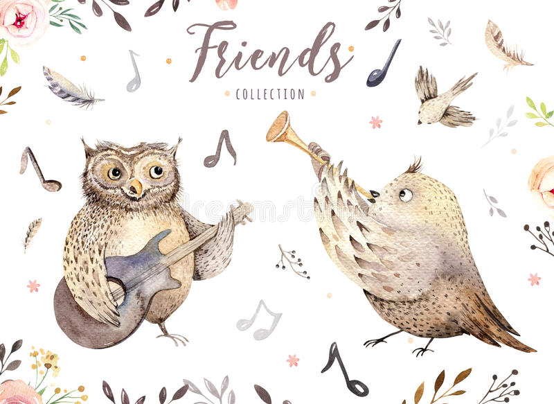 Hibou tiré par la main et oiseau d'aquarelle jouant l'animal de musique Illustration de décoration de crèche de Boho, art à la mo illustration de vecteur