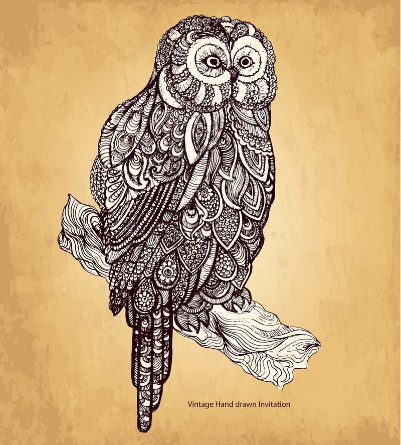 Hibou décoratif illustration de vecteur